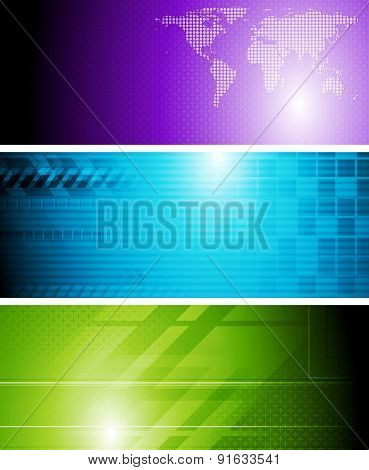 Bright tech abstract banners. Vector design