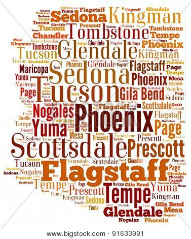 Word Cloud in the shape of Arizona showing some of the cities in the state