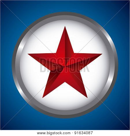 Star insignia  design over blue background vector illustration