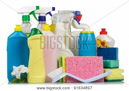 Cleaning items on white