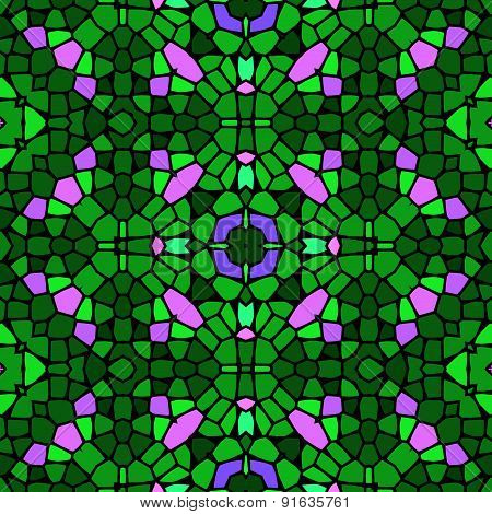 Seamless Kaleidoscopic Mosaic Green And Pink Tile Pattern