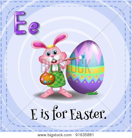 Flashcard letter E is for easter