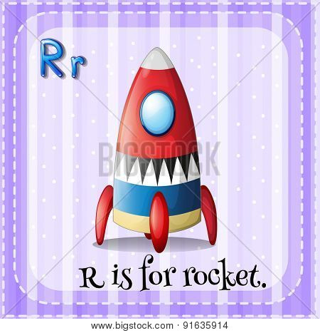 Flashcard letter R is for rocket