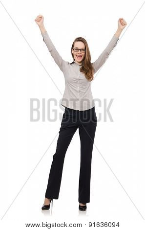 Working lady isolated on white
