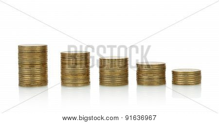 Coins stacks, isolated