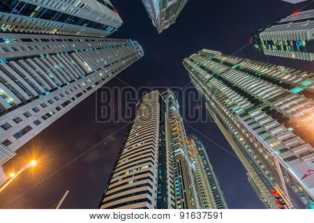 Tall residential buildings in Dubai