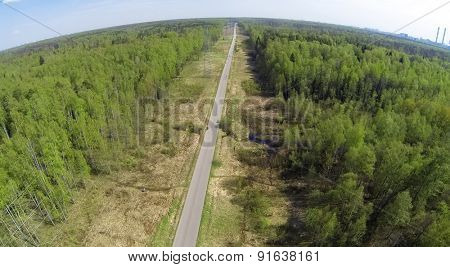 Aerial view of the vista in the forest at spring day.