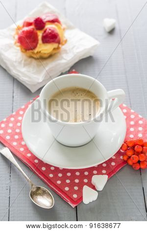 Coffee Cup Milk Sweet Dessert Cake Strawberries