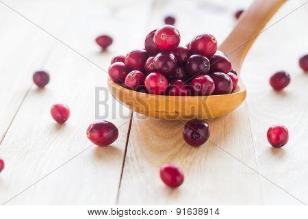 Cranberries Wooden Spoon Background Berry