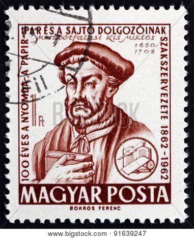 Postage Stamp Hungary 1962 Miklos Misztotfalusi Kis, Hungarian Printer