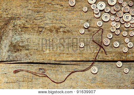 Wooden Background With Buttons
