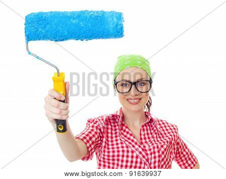 Happy Woman With Roller Ready For Wall Painting, Isolated On White. Lovely Female Worker Renovating