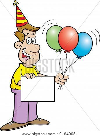 Cartoon man holding a sign and balloons.