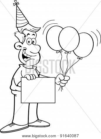 Cartoon man holding a sign and balloons