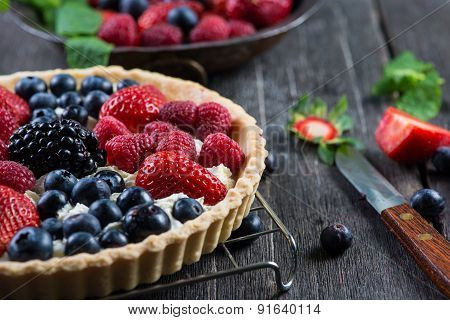 Homemade Tart With Fresh Berries Summer Fruit