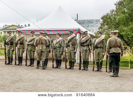 Soldiers Of The Imperial Russian Army In Historical Reconstruction In The Champ De Mars Park In St.
