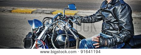 Biker And Classic Motorcycle Side View
