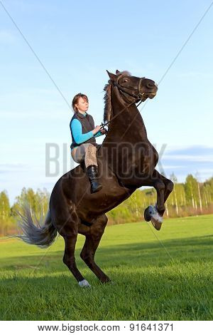 Woman On Rearing Horse