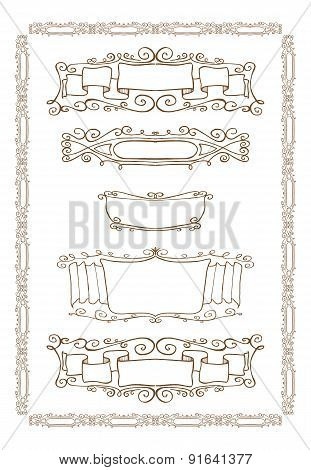 Vector set of gold decorative horizontal floral elements, corners, borders, frame, crown.