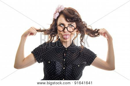 Funny Expressive Woman Sticking Her Tongue Out And Playing With Her Hair, Isolated On White. Funny G