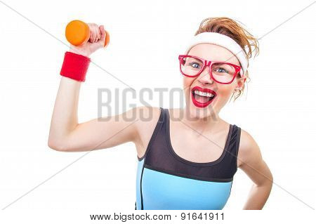 Funny Woman With Dumbbell, Close-up Of Fitness Girl