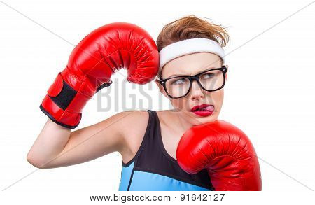 Young Boxer Girl Pokes Out Her Tongue
