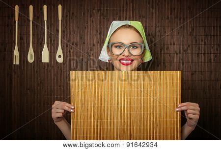 Funny Rural Woman Cook Holdin Ledle And Chopping Shim, Space For Your Text
