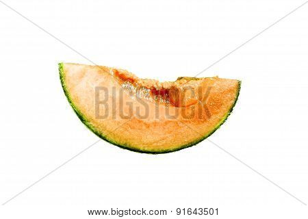 Piece Of Succulent  Melon Are Isolated On White Background