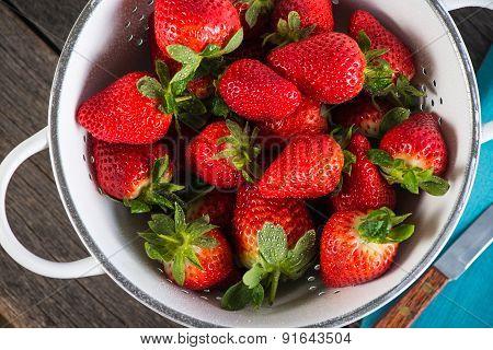 Fresh Ripe Sweet Strawberries, Just Clean Still Wet