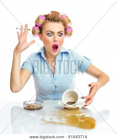 Angry Or Agressive Funny Woman With Cigarette And Spilled Coffee. Stains On Desk