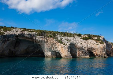 Travel and touristic concept - Blue caves on Zakynthos island, Greece