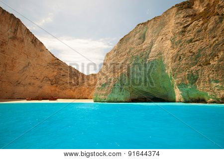 Navagio beach on Zakynthos island, Greece, summer day