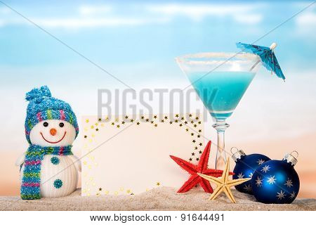 Snowman, cocktail and greeting card