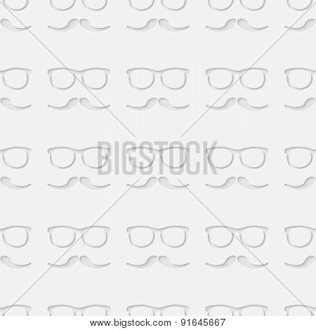Hipster sunglasses and mustache seamless pattern