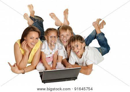 family lying on a floor