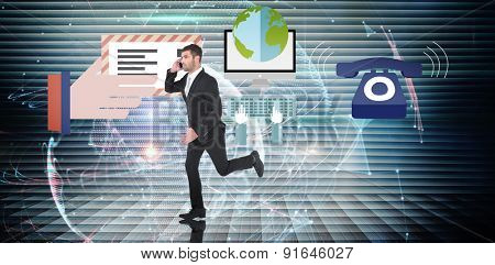 Businessman running on the phone against global technology background in blue