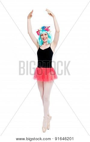 Crazy Ballet Girl Wearing Wig
