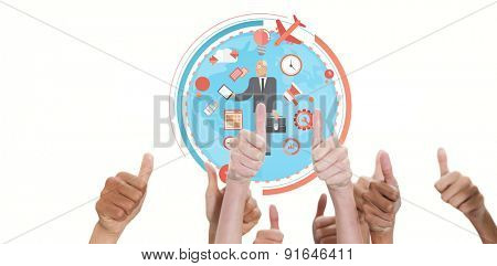 Thumbsup against businessman graphic
