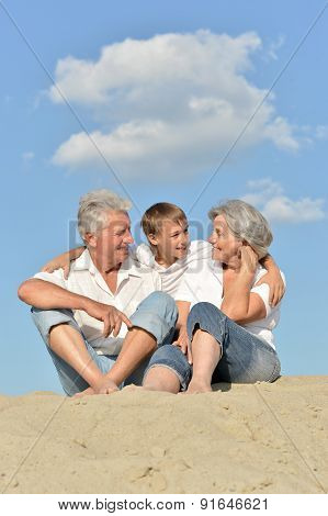 Boy with grandparents outdoor