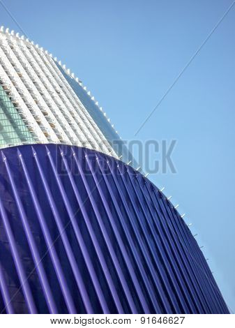 Valencia Spain - circa August 2009: an external view of the roof detail in blue and white