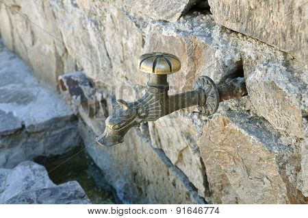 Ancient Bronze Carved Faucet