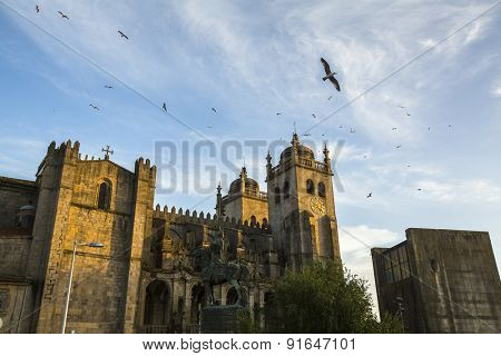The Porto Cathedral. Romanesque and Gothic architecture. Porto, Portugal. Unesco World Heritage Site.