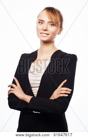 business, real estate, banking and people concept: young business woman isolated on white