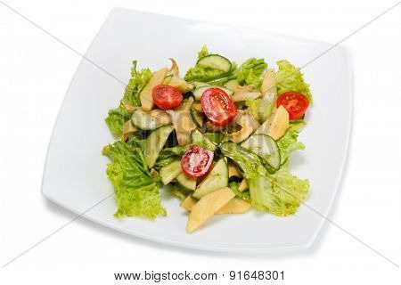 Caesar salad with trumpeter isolated on a white background.