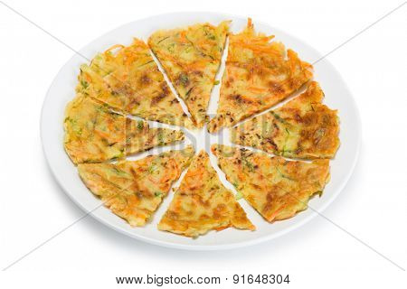 Korean fritters cooked with carrots and vegetables. From a series of Food Korean cuisine.