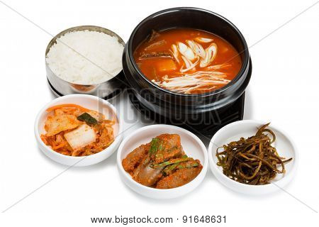 Beef soup with vegetables and mushrooms. From a series of Food Korean cuisine.
