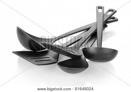 Kitchen tableware on white