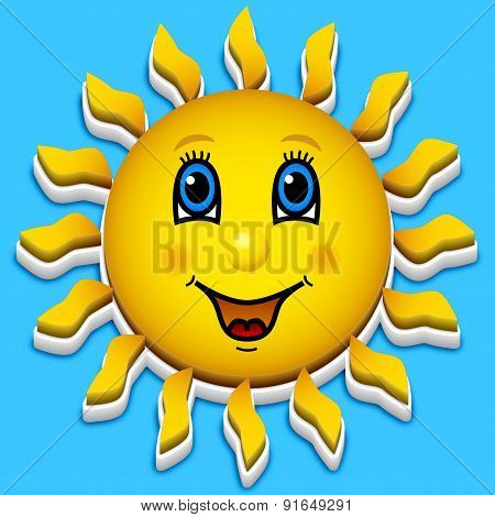 Happy Smiling Sun On Blue Sky