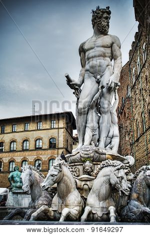 Neptune Statue In Piazza Della Signoria