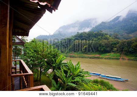 Very High Mountains In Laos The River.